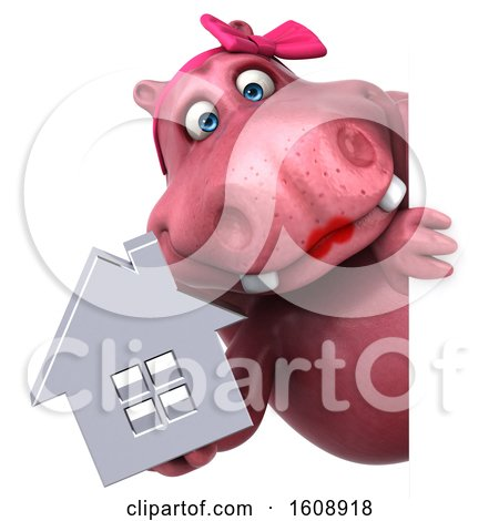 Clipart of a 3d Pink Henrietta Hippo Holding a House, on a White Background - Royalty Free Illustration by Julos