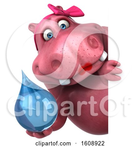 Clipart of a 3d Pink Henrietta Hippo Holding a Water Drop, on a White Background - Royalty Free Illustration by Julos