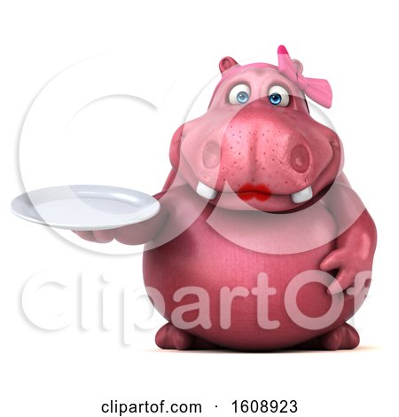 Clipart of a 3d Pink Henrietta Hippo Holding a Plate, on a White Background - Royalty Free Illustration by Julos