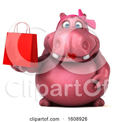 Clipart of a 3d Pink Henrietta Hippo Holding a Shopping Bag, on a White Background - Royalty Free Illustration by Julos