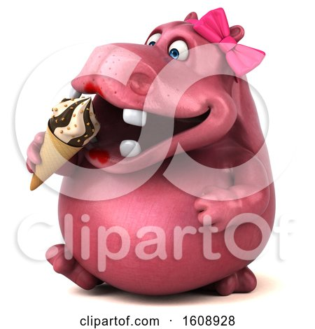 Clipart of a 3d Pink Henrietta Hippo Holding a Waffle Cone, on a White Background - Royalty Free Illustration by Julos