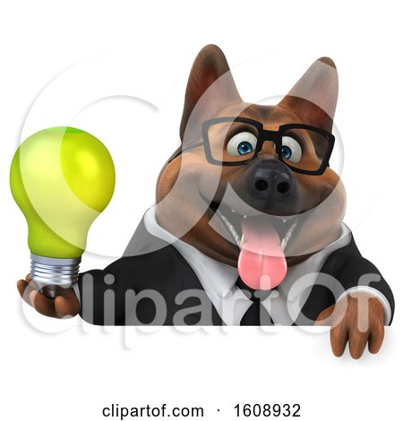 Clipart of a 3d Business German Shepherd Dog Holding a Light Bulb, on a White Background - Royalty Free Illustration by Julos
