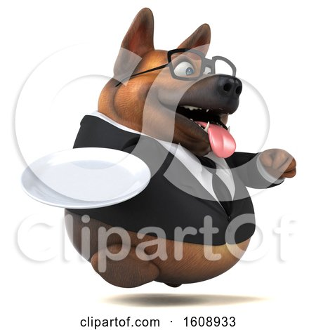 Clipart of a 3d Business German Shepherd Dog Holding a Plate, on a White Background - Royalty Free Illustration by Julos