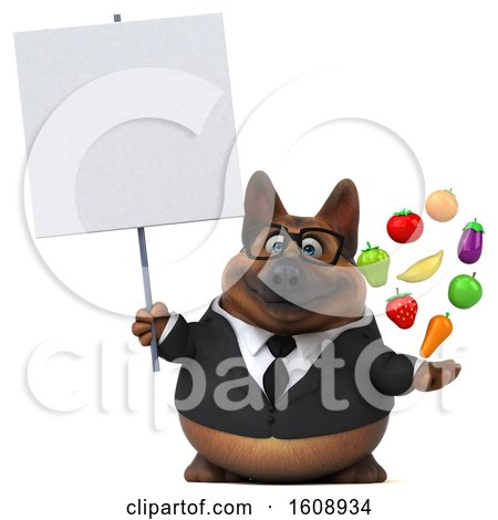 Clipart of a 3d Business German Shepherd Dog Holding Produce, on a White Background - Royalty Free Illustration by Julos