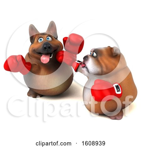 Clipart of a 3d German Shepherd Dog Boxing with a Bulldog, on a White Background - Royalty Free Illustration by Julos