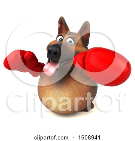 Clipart of a 3d German Shepherd Dog Wearing Boxing Gloves, on a White Background - Royalty Free Illustration by Julos
