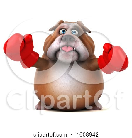 Clipart of a 3d Bulldog Fighter Wearing Boxing Gloves, on a White Background - Royalty Free Illustration by Julos