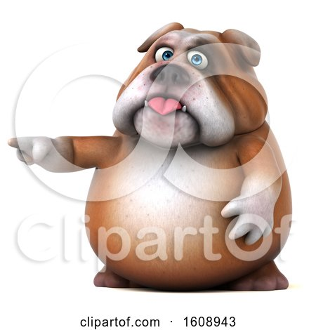 Clipart of a 3d Bulldog Pointing, on a White Background - Royalty Free Illustration by Julos