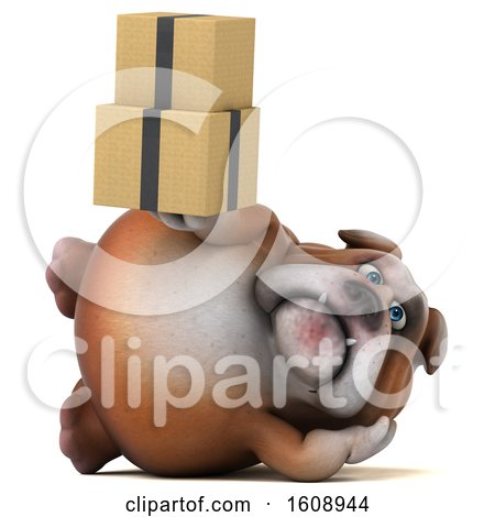 Clipart of a 3d Bulldog Holding Boxes, on a White Background - Royalty Free Illustration by Julos