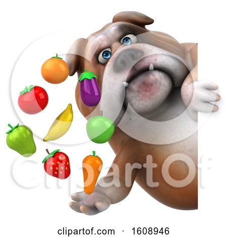 Clipart of a 3d Bulldog Holding Produce, on a White Background - Royalty Free Illustration by Julos