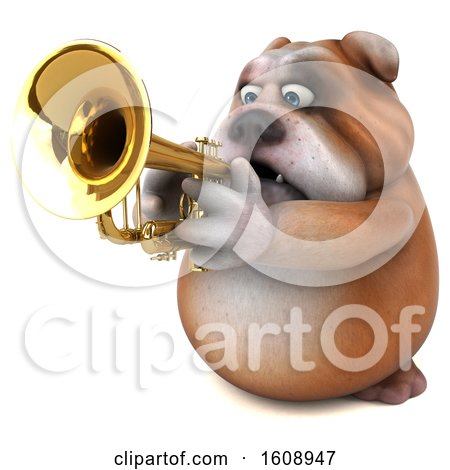 Clipart of a 3d Bulldog Playing a Trumpet, on a White Background - Royalty Free Illustration by Julos