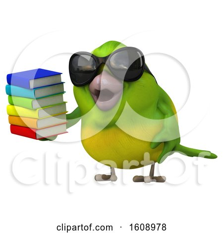 Clipart of a 3d Green Bird Holding Books, on a White Background - Royalty Free Illustration by Julos