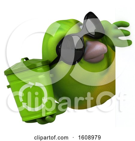 Clipart of a 3d Green Bird Holding a Recycle Bin, on a White Background - Royalty Free Illustration by Julos