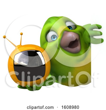 Clipart of a 3d Green Bird Holding a Tv, on a White Background - Royalty Free Illustration by Julos