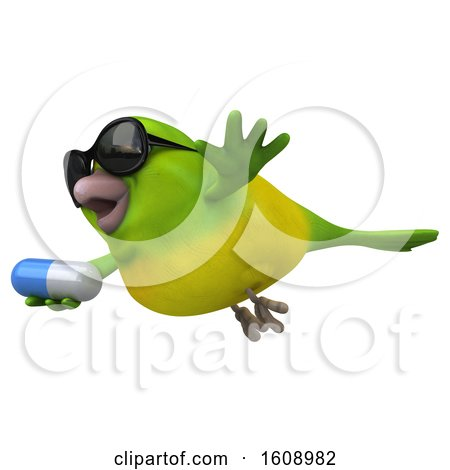 Clipart of a 3d Green Bird Holding a Pill, on a White Background - Royalty Free Illustration by Julos