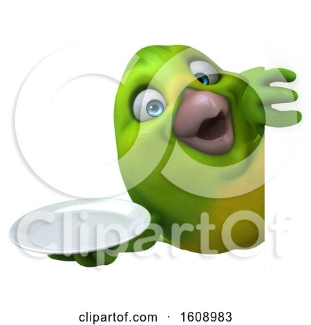 Clipart of a 3d Green Bird Holding a Plate, on a White Background - Royalty Free Illustration by Julos