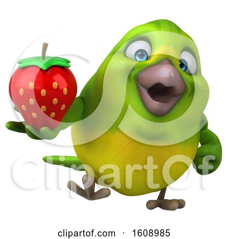 Clipart of a 3d Green Bird Holding a Strawberry, on a White Background - Royalty Free Illustration by Julos