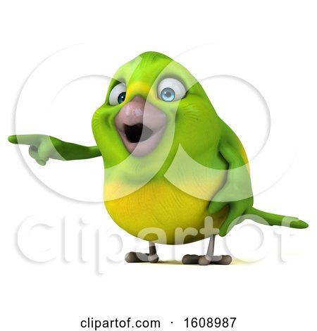 Clipart of a 3d Green Bird Pointing, on a White Background - Royalty Free Illustration by Julos