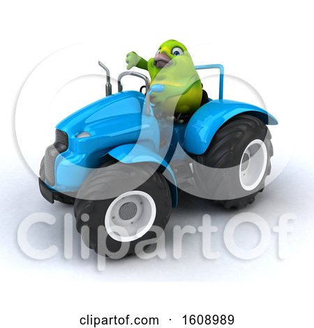 Clipart of a 3d Green Bird Operating a Tractor, on a White Background - Royalty Free Illustration by Julos