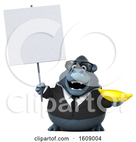 Clipart of a 3d Business Gorilla Holding a Banana, on a White Background - Royalty Free Illustration by Julos