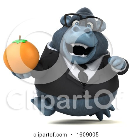 Clipart of a 3d Business Gorilla Holding an Orange, on a White Background - Royalty Free Illustration by Julos