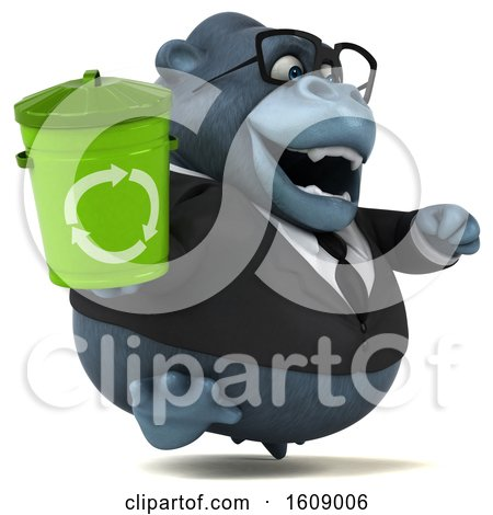 Clipart of a 3d Business Gorilla Holding a Recycle Bin, on a White Background - Royalty Free Illustration by Julos