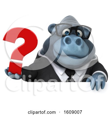 Clipart of a 3d Business Gorilla Holding a Question Mark, on a White Background - Royalty Free Illustration by Julos