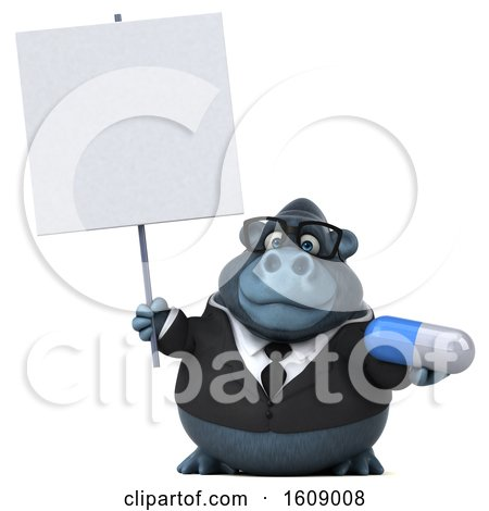 Clipart of a 3d Business Gorilla Holding a Pill, on a White Background - Royalty Free Illustration by Julos