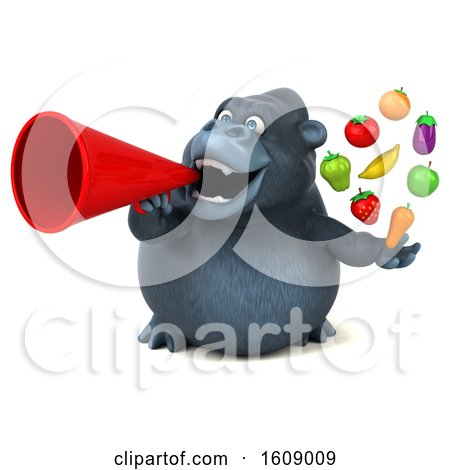 Clipart of a 3d Gorilla Holding Produce, on a White Background - Royalty Free Illustration by Julos