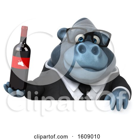 Clipart of a 3d Business Gorilla Holding Wine, on a White Background - Royalty Free Illustration by Julos