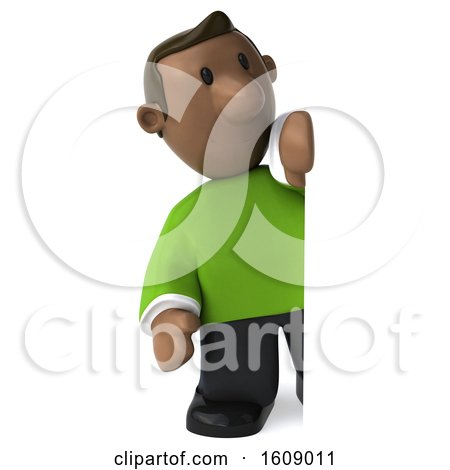 Clipart of a 3d Casual Black Man Looking Around a Sign, on a White Background - Royalty Free Illustration by Julos