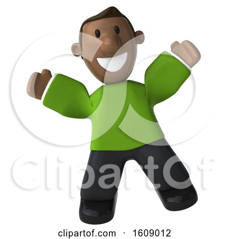 Clipart of a 3d Casual Black Man Jumping, on a White Background - Royalty Free Illustration by Julos
