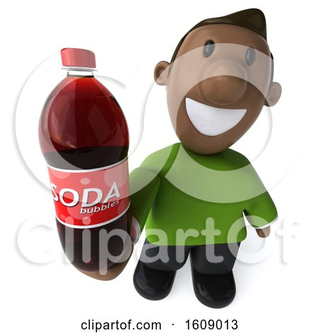 Clipart of a 3d Casual Black Man Holding a Soda, on a White Background - Royalty Free Illustration by Julos