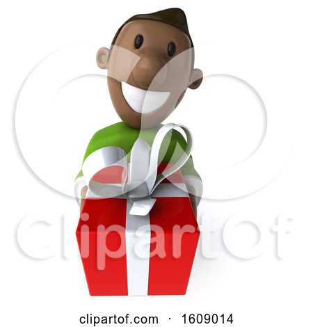 Clipart of a 3d Casual Black Man Holding a Gift, on a White Background - Royalty Free Illustration by Julos