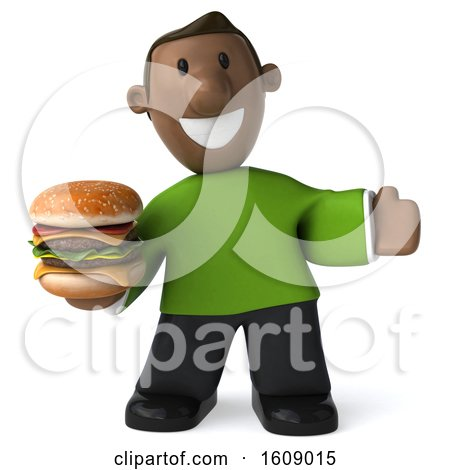 Clipart of a 3d Casual Black Man Holding a Burger, on a White Background - Royalty Free Illustration by Julos