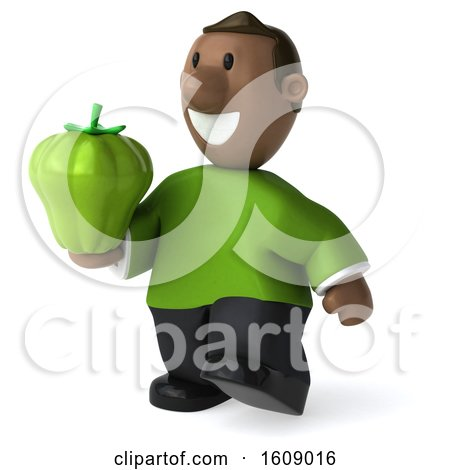 Clipart of a 3d Casual Black Man Holding a Bell Pepper, on a White Background - Royalty Free Illustration by Julos