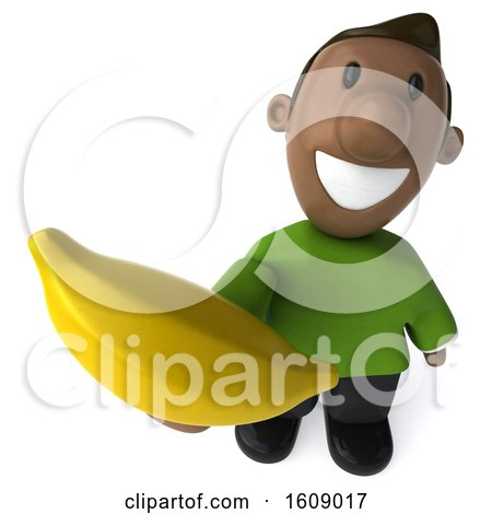 Clipart of a 3d Casual Black Man Holding a Banana, on a White Background - Royalty Free Illustration by Julos