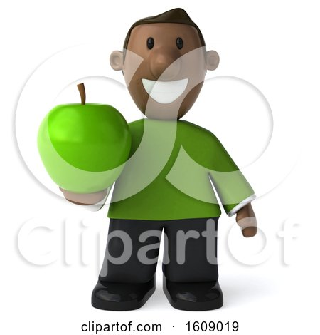 Clipart of a 3d Casual Black Man Holding an Apple, on a White Background - Royalty Free Illustration by Julos