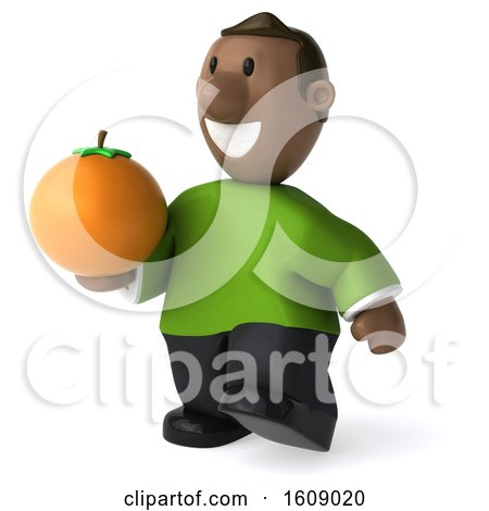 Clipart of a 3d Casual Black Man Holding an Orange, on a White Background - Royalty Free Illustration by Julos