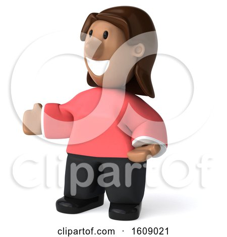 Clipart of a 3d Casual Black Woman Presenting, on a White Background - Royalty Free Illustration by Julos