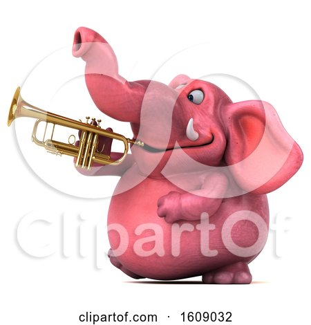 Clipart of a 3d Pink Elephant Holding a Trumpet, on a White Background - Royalty Free Illustration by Julos