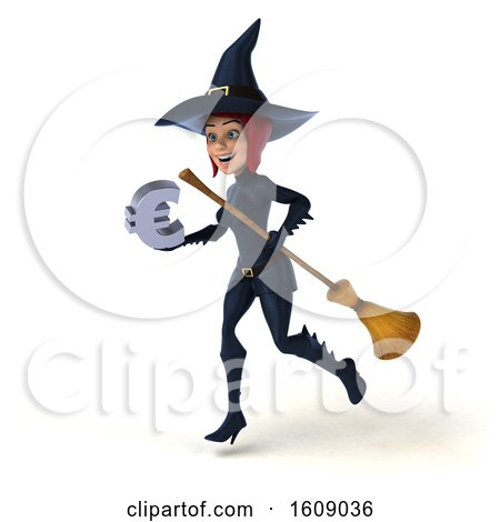 Clipart of a 3d Sexy Blue Witch Holding a Euro, on a White Background - Royalty Free Illustration by Julos