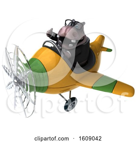 Clipart of a 3d Business Hippo Flying a Plane, on a White Background - Royalty Free Illustration by Julos