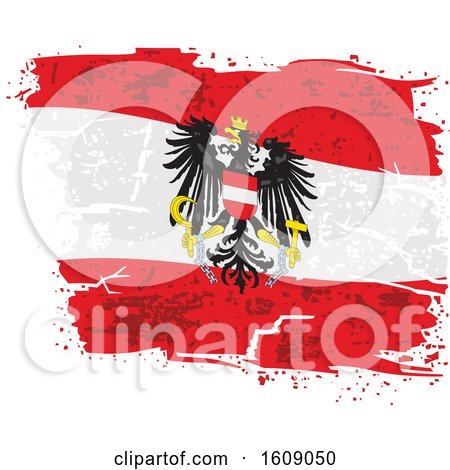 Clipart of a Distressed and Torn Austrian Eagle Flag - Royalty Free Vector Illustration by dero