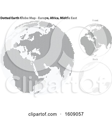 Clipart of a Grayscale Dotted Globe Featuring Europe, Africa and the Middle East - Royalty Free Vector Illustration by dero