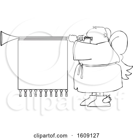 Clipart of a Cartoon Lineart Black Male Christmas Angel Blowing a Horn with a Banner Sign - Royalty Free Vector Illustration by djart