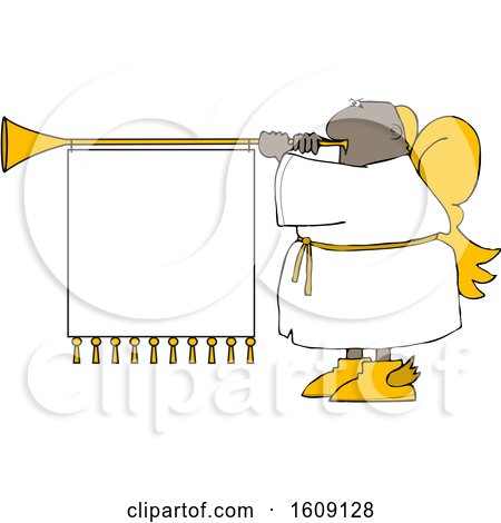 Clipart of a Cartoon Black Male Christmas Angel Blowing a Horn with a Banner Sign - Royalty Free Vector Illustration by djart