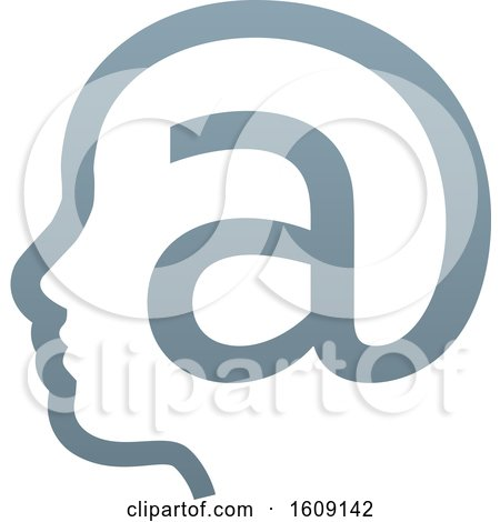 Clipart of a Profiled Face in an Email Arobase at Symbol - Royalty Free Vector Illustration by AtStockIllustration