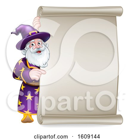 Clipart of a Happy Wizard Pointing Around a Scroll Sign - Royalty Free Vector Illustration by AtStockIllustration