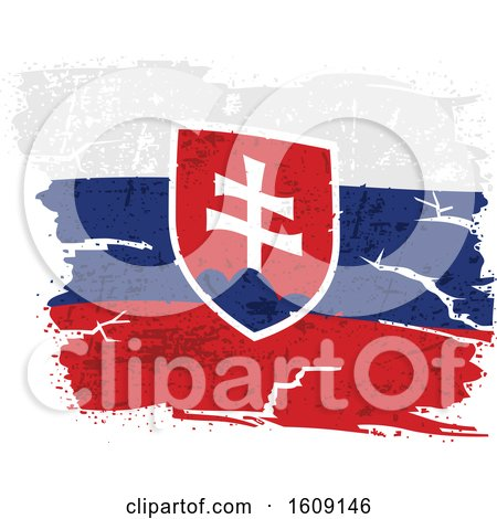 Clipart of a Torn and Distressed Slovak Flag - Royalty Free Vector Illustration by dero